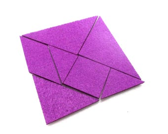 Tangram puzzle, felt, 9x9 cm, ** Color choice **