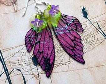 Fairy Wing Earrings, Flower Fairy Earrings, Faerie Earrings, Iridescent Earrings, Hand Painted, Dangle Earrings, Boho, Violet Earrings