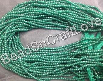 Emerald green quartz micro faceted rondelles, 3-4mm, 140 pieces
