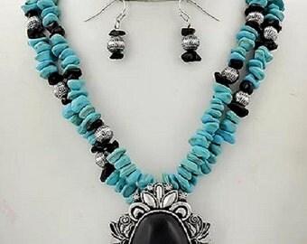 turquoise stone ornate  necklace western