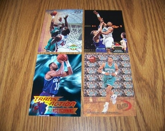 4 Vintage Alonzo Mourning (Charlotte Hornets) Rookie and Insert Cards