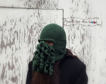 Cthulhu crochet face mask hat - Custom made to order
