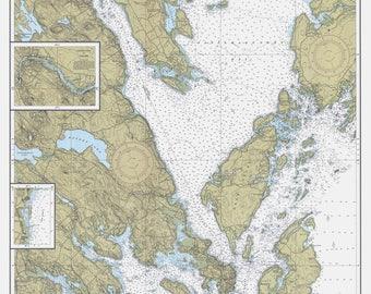 Calais to West Quoddy Head Maine 1990 Nautical Map Harbors 5 801 - 13328 Reprint