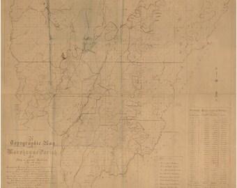 Louisiana Parishes Etsy - County map of louisiana