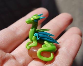Green Miniature Dragon and Carnelian