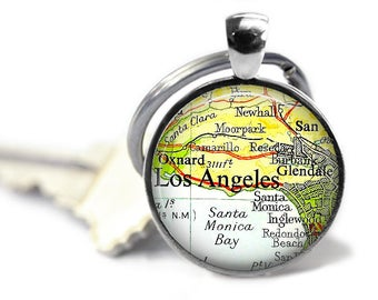 Los Angeles keychain LA map key ring groomsman gift vintage California atlas travel gift.