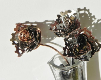 Alloyed Rose, Steampunk Rose, Handmade Metal Flower, Forever Rose