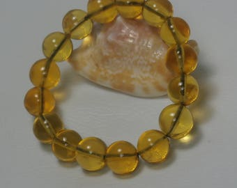 Genuine Dominican Amber Round Beads Bracelet, Strech, Clear Amber