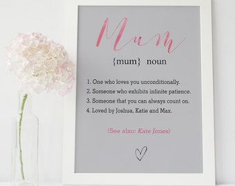 Mother's Day gift - personalised mother's day print - mum definition - mother's day present - gift for mom - personalised mum print