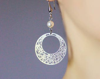 Filigree Silver Earrings Hoop Filigree Earrings Hoop Dangle Earrings Silver Pearl Earrings Lace Earrings Round Dangle Earring Delicate Round