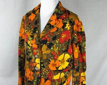 Vintage Women's Floral Jacket Small