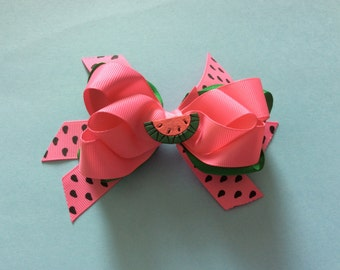 Summer Watermelon Layered Boutique Hair Bow