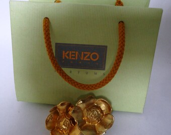Vintage Kenzo Gold Tone Flower Earrings with original pouch