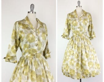 50s Gold Dot Print Dress / 1950s Vintage Long Sleeve Day Dress / Large  / Size 10