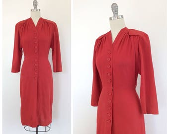40s Red Crepe Dress / 1940s Vintage Long Sleeve Dress / Small / Size 6