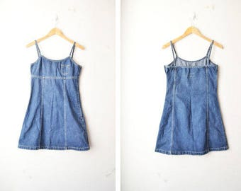 SALE // dark blue denim mini spaghetti strap dress 90s // S