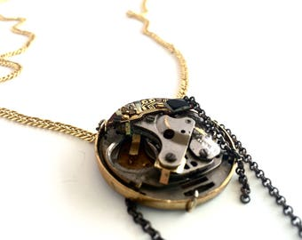 Steampunk Necklace, Industrial Jewelry, Womens Watches, Long Necklace, Boho Necklace, Gift for her