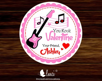 Valentine's Day Rock Favor Tags, Valentine's Rock Party Favors, Valentines Day Stickers