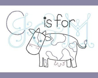C is for Cow vintage stitch sketch embroidery design
