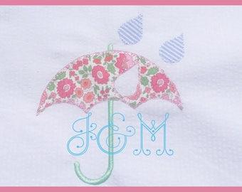 5x7 Rain Rain Go Away Umbrella Vintage Stitch Embroidery Design