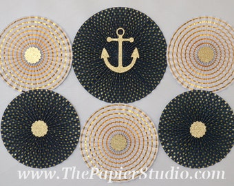 Nautical Blue and Gold, set of Six (6) Paper Rosettes