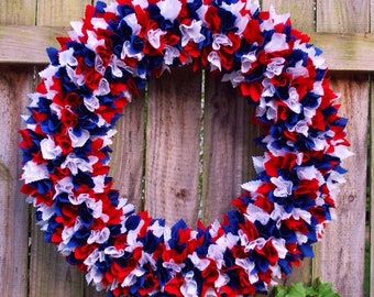 Medium Patriotic Rag Wreath, Fourth of July Rag Wreath, 4th of July Rag Wreath, Military Wreath, Flag Wreath