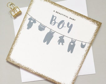 New Baby Boy card - Baby boy card - Cute baby boy card - Modern new baby card - Contemporary card for new baby boy