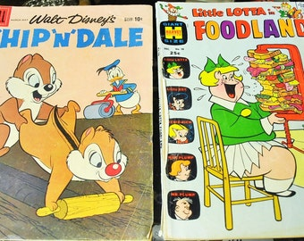 Vintage Comic Books Chip'n Dale and Little Lotta in Foodland