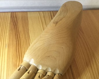 Weird Vintage Wooden Artist Model of a Human Foot with Articulating Toes