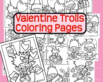 Valentine Trolls Coloring Book Pages Valentine's Trolls Drawing Hearts, Giving Valentines, To Color in Page