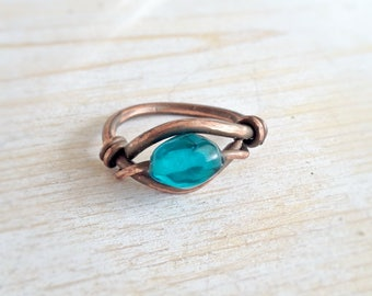 Size 8.5 Copper Wirewrapped Ring Electroformed Copper Blue Glass Beaded Ring Womens Statement Ring Indie Handmade Jewelry Statement Ring