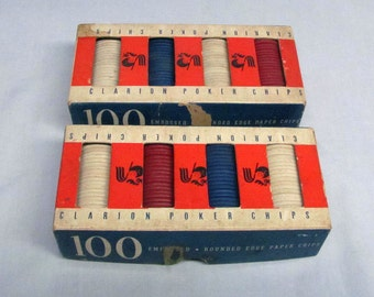Pair of Vintage Clarion Rooster Embossed Poker Chips Complete 100/Box