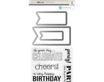 Hampton Art Stamp & Die Set BIRTHDAY BANNERS Clear stamps SC0787 - cc52 SD015