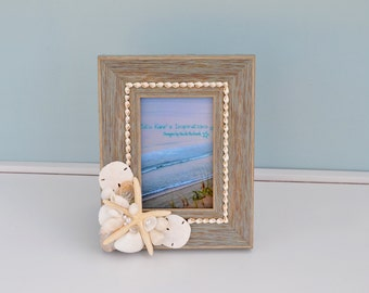 Nautical Picture Frame, Beach Wedding Picture Frame, Beach Decor, Nautical Decor, Seashell Frame, Beach Wedding, Coastal Picture Frame