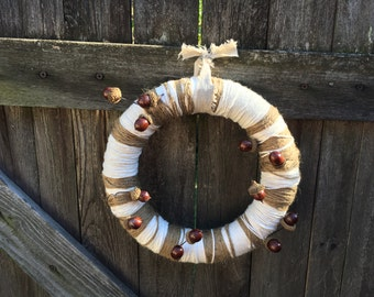 """10"""" Autumn Harvest Wreath, Cotton and Twine Wrapped Wreath with Faux Acorn Accents, Fall Farmhouse Decor"""