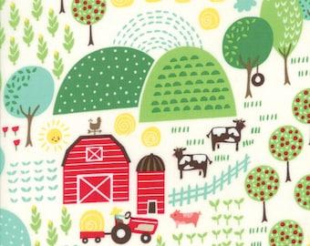 Farm Fun Farm Scene Fabric in Multi by Stacey Iset Hsu for Moda Fabrics