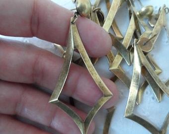 """Vintage gold plate brass earring blanks,2&1/2"""",10pcs-ERG127"""