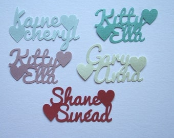 Personalised Name Confetti - Script Names with Hearts -40 pieces - 39 colours - Custom made for your wedding, engagement, anniversary