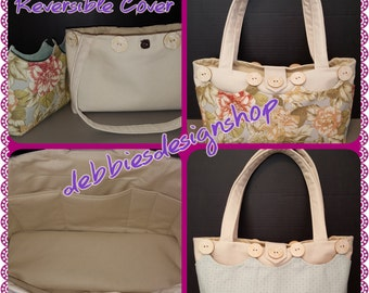 Purse, handbag, tote with reversible/removable cover - Spring Beige Flowers/Mint