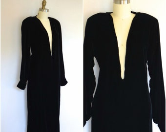 Iconic Calvin Klein Designer Dress/ 80s Velvet Evening Dress/ Avant Garde Dress with Plunging Neckline/ Womens Size Small