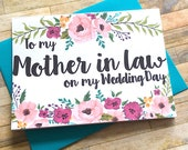 Mother in Law Thank You Card, Wedding Mother in Law Thank You, Wedding Card, Mother in Law Thank You Card - To my Mother in law