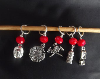 Fire Fighter inspired stitch Markers ( 5) Markers.