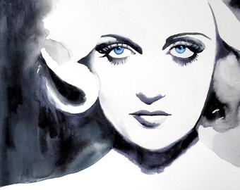 Carole Black and White 1930s Fashion Hollywood Regency Art Print Watercolor B&W Blue Eyes Vintage Hairdo Retro 30s salon decor