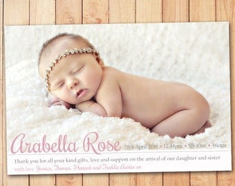 Simple and Sweet Birth Announcement - Baby Girl Thank You Card