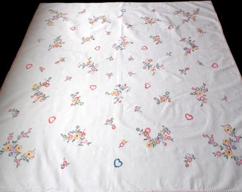 Vintage white cotton square tablecloth with flowers and hearts floral hand embroidery embroidered table cloth Crochet edging