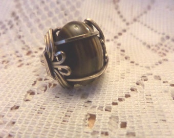 Tigers Eye Ring, Tigers Eye Jewelry, Tiger Eye Ring, Gemstone Rings, Tiger Eye Jewelry, Vintage Rings, Gemstone Jewelry, Wire Wrapped Ring