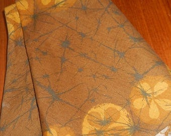 Vintage Mid-Century Modern Circular Tablecloth in Browns, Golds, and Yellows