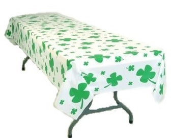 2 St. Patrick Day Green clovers shamrocks Check Table Cover 54 x 108 Inches
