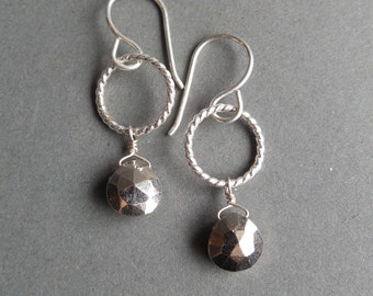 Sterling Silver and Pyrite Briolette Drop Two Tone Earrings