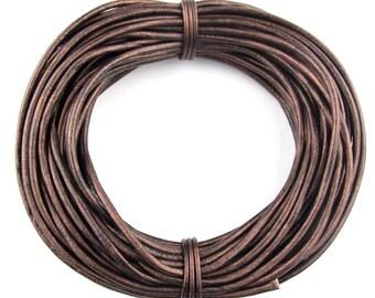 Brown Metallic Round Leather Cord 3mm, 25 meters (27.34 yards)